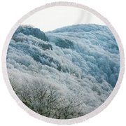 Mountainside Hoarfrost Round Beach Towel