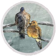 Mourning Doves In A Morning Flurry Round Beach Towel