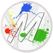 Round Beach Towel featuring the digital art MTM by Meet the Masters