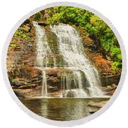 Muddy Creek Falls Round Beach Towel