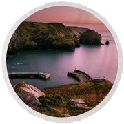 Mullion Cove Sunset - Cornwall General View Round Beach Towel