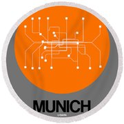 Munich Orange Subway Map Round Beach Towel