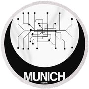 Munich White Subway Map Round Beach Towel