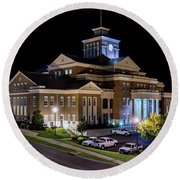 Municipal Center At Night - North Augusta Sc Round Beach Towel