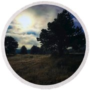 Round Beach Towel featuring the photograph Murky Atmosphere Elk Meadow by Dan Miller