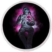 Mushroom Cosmonaut Space Traveller Round Beach Towel