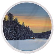 Round Beach Towel featuring the painting Muskoka Winter by Kenneth M Kirsch