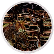 Mustang Horse And A Western Saddle Round Beach Towel