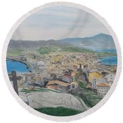 Round Beach Towel featuring the painting Muxia by Kevin Daly