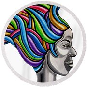 Colorful Abstract Black Woman Face Hair Painting Artwork - African Goddess Round Beach Towel