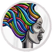 Abstract Face Painting Black Woman Art African Goddess Art Medusa Ai P. Nilson Round Beach Towel