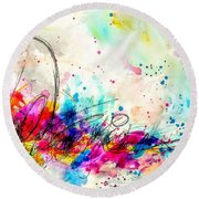 Round Beach Towel featuring the painting My Ben, Be Mine, All Mine 2 by Tracy Bonin