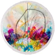 Round Beach Towel featuring the painting My Ben, Be Mine, All Mine by Tracy Bonin