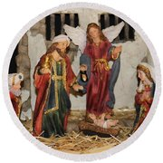 My German Traditions - Christmas Nativity Scene Round Beach Towel