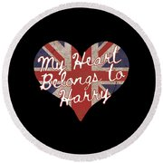 My Heart Belongs To Prince Harry Round Beach Towel