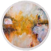 Round Beach Towel featuring the painting My Mouth Hasn't Shut Up About You Since You Kissed It by Tracy Bonin