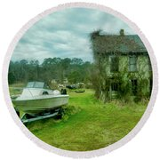 Auntie's Old House Round Beach Towel