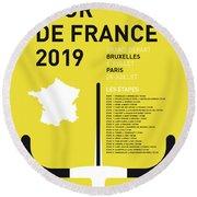 My Tour De France Minimal Poster 2019 Round Beach Towel