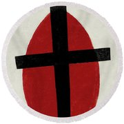 Mystic Suprematism - Black Cross On Red Oval, 1920-1922 Round Beach Towel