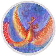 Mystical Phoenix Round Beach Towel
