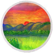 Mystical Red Sunset Round Beach Towel