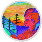 Mystical Rock With A Profile At Sunrise Round Beach Towel