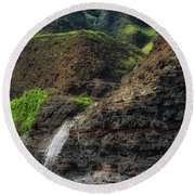 Na Pali Coast Waterfall Round Beach Towel