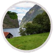 Round Beach Towel featuring the photograph Naeroyfjord, Norway by Andreas Levi