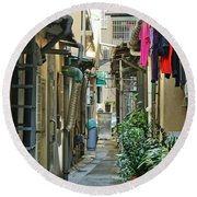 Narrow Alley In Taiwan Round Beach Towel