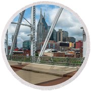 Nashville Cityscape From The Bridge Round Beach Towel
