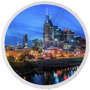 Nashville Night Round Beach Towel