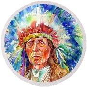 Native American Chief Round Beach Towel