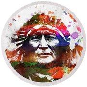 Native American Indian 4 Round Beach Towel