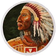 Native American Indian Chief Round Beach Towel
