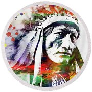 Native American Indian Watercolor 5 Round Beach Towel