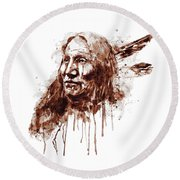 Native American Portrait Sepia Tones Round Beach Towel