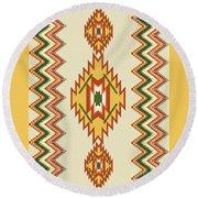 Native American Rug Round Beach Towel