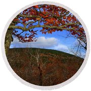 Round Beach Towel featuring the photograph Nature Frames Mount Greylock's Tower by Raymond Salani III