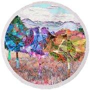 Round Beach Towel featuring the digital art Nature's Kaleidoscope by Mike Braun