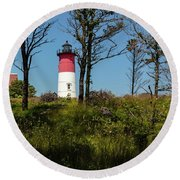 Nauset Lighthouse On The 4th Of July Round Beach Towel
