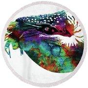 Nautilus Colorful Watercolor Art Round Beach Towel
