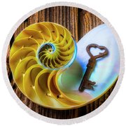 Nautilus Shell And Old Key Round Beach Towel