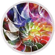 Nautilus Shell Colorful Watercolor 2 Round Beach Towel