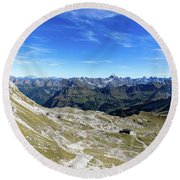 Round Beach Towel featuring the photograph Nebelhorn Panorama by Andreas Levi