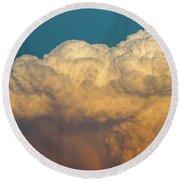 Nebraska Sunset Thunderheads 053 Round Beach Towel