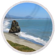 Round Beach Towel featuring the photograph Needle Rock 1, Cape Blanco, Oregon by Dawn Richards