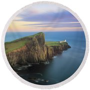 Round Beach Towel featuring the photograph Neist Point Lighthouse On Skye At Sunset by IPics Photography