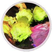 Neon Apples With Bananas Round Beach Towel