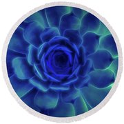 Neon Blue Sempervivum Round Beach Towel