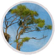 Nesting By The Moon Round Beach Towel
